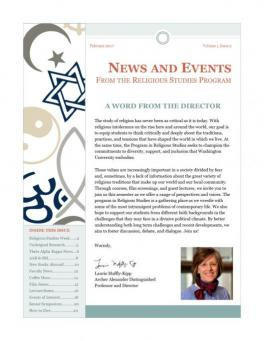 Page one of the Religious Studies Newsletter